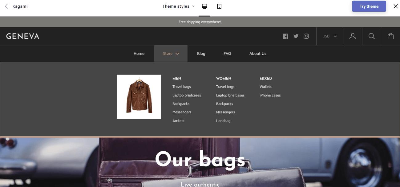 Shopify公式テーマKagami