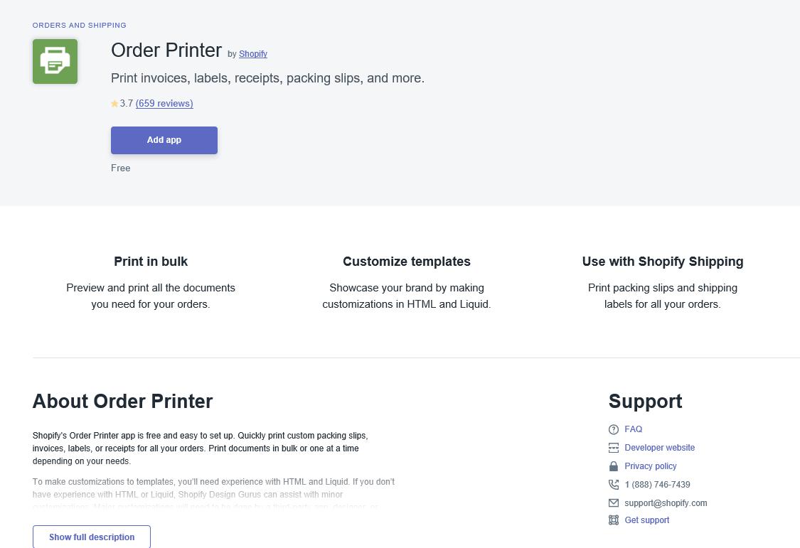 配送ShopifyアプリOrderPrinter