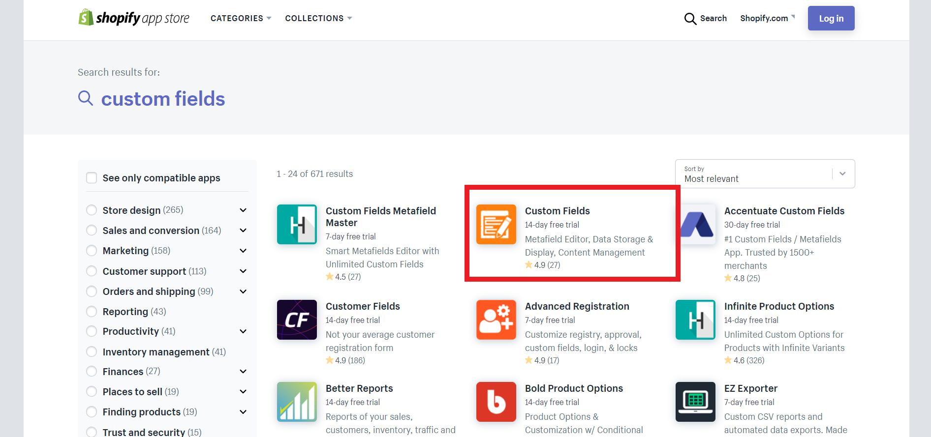 Shopify公式テーマ「Custom Fields」