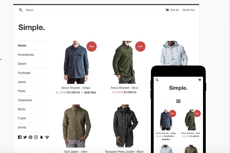Shopify公式テーマSimple